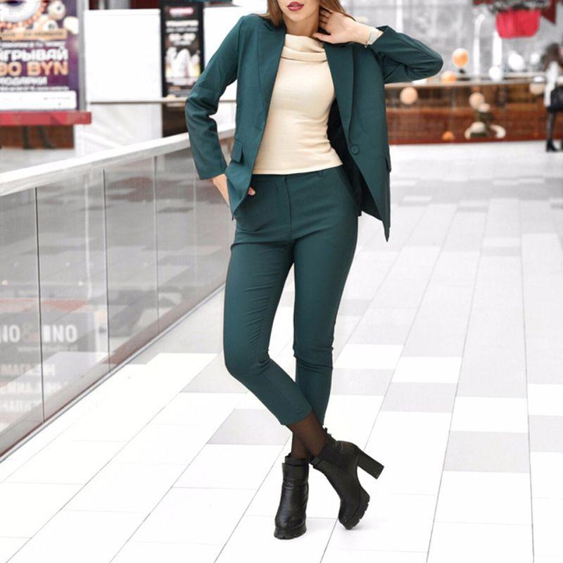 2018 Autumn Women Pencil Pant Suits 2 Two Piece Sets Black Solid Blazer + Pencil Pant Office Lady Notched Jacket Female Outfits