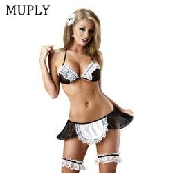 MUPLY 2019 New Ladies Sexy Lingerie Hot Sheer Naughty Maid Uniform Sexy Underwear Outfit Erotic Lingerie Cosplay Sexy Costumes