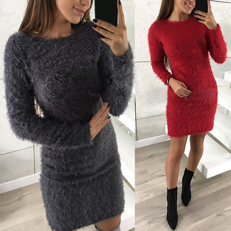 Women Long Sweater Dress 2017 Autumn Winter Sexy Bodycon Dress Casual O Neck Long Sleeve Stretch Pullover Top Sweaters Vestidos
