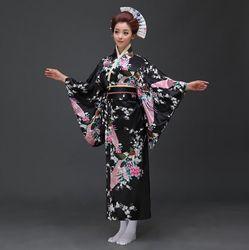 Sexy negro japonés vestido de noche de las mujeres seda rayón kimono yukata con Obi vestido de danza Cosplay traje flor un tamaño JK067