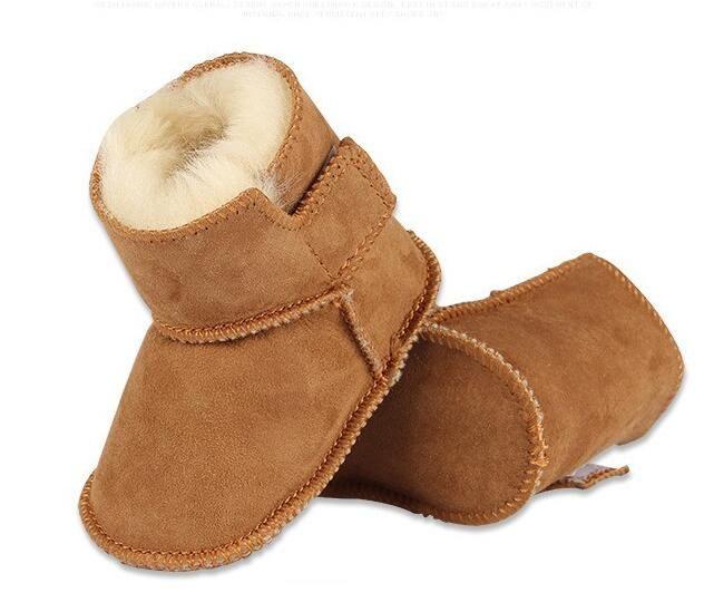 Малышей Обувь для малышей натуральная кожа зимние обувь, сохраняющая тепло овчины с мехом детские пинетки одноцветное Новорожденный ребен...