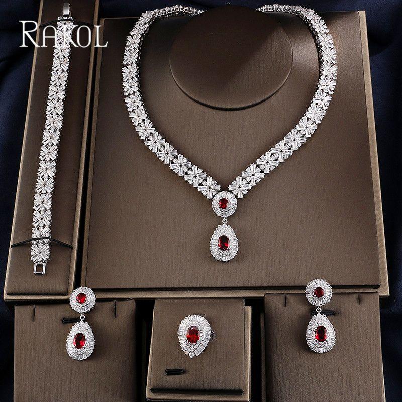 RAKOL Exclusive Dubai White Color Jewelry Luxury Cubic Zirconia Necklace Earring Bracelet Party Wedding Jewelry Set For Women