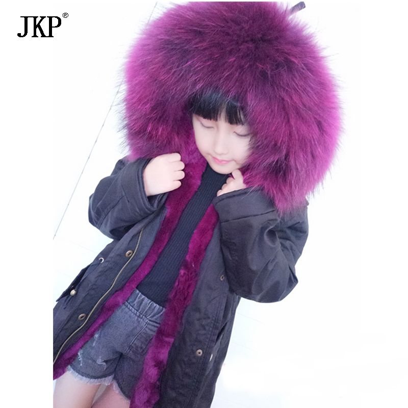 JKP 2018 Winter neue kinder waschbären pelzkragen echtpelz mäntel mädchen und jungen tragen echte kaninchen Parkas Oberbekleidung Mäntel CT-04