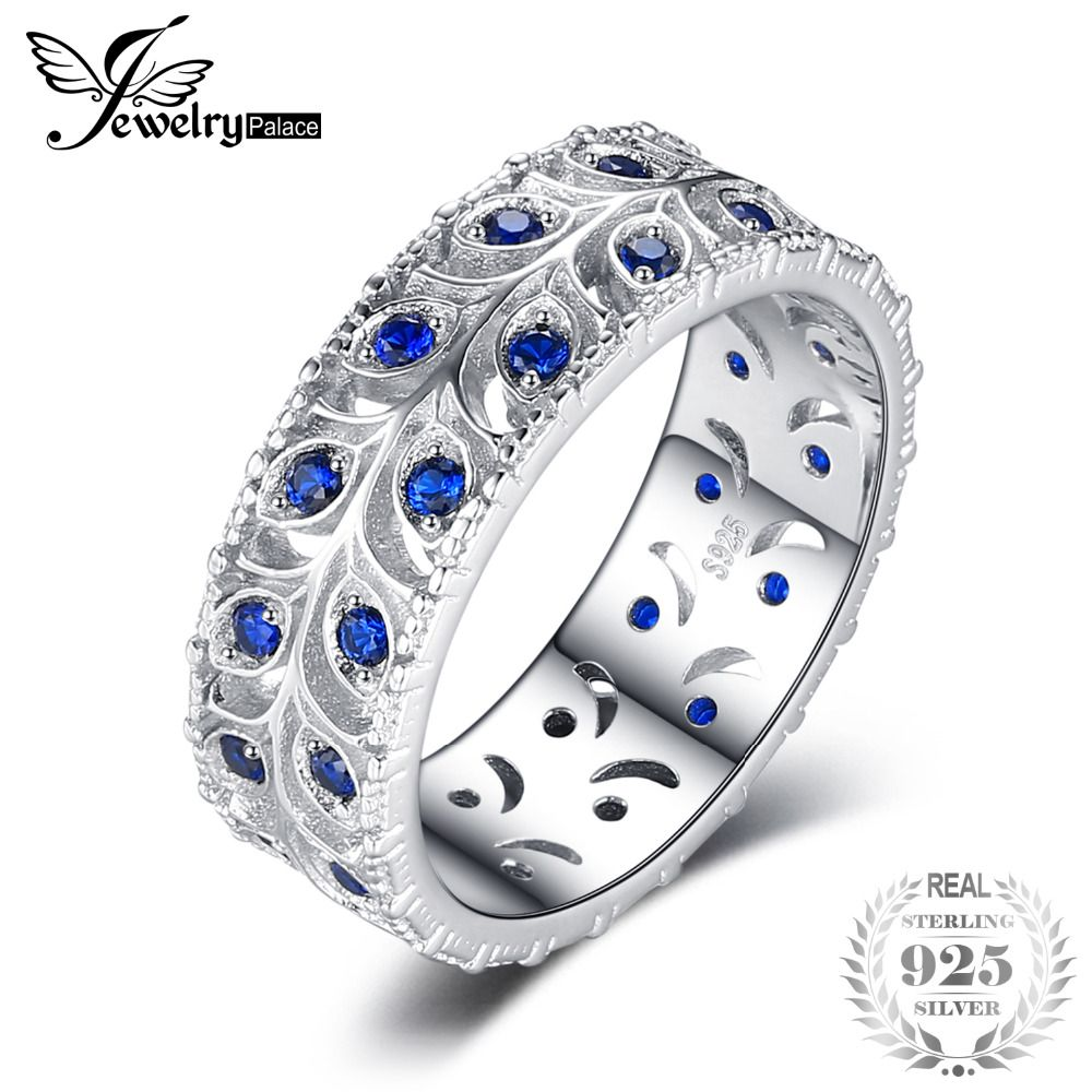 JewelryPalace 0.5ct Created Blue Spinel Engagement Wedding Band Ring For Women Real 925 Sterling Silver Fashion Jewelry Gift