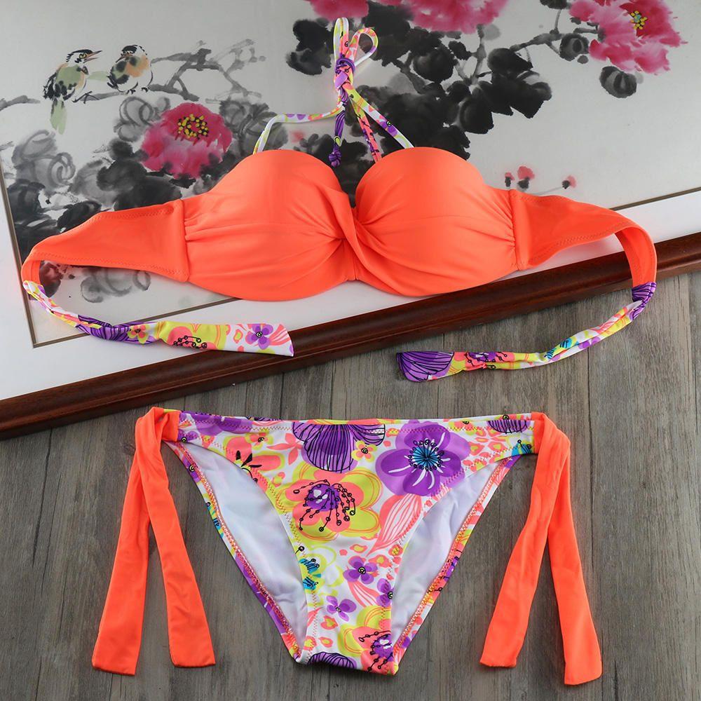 Sexy 2018 Push Up Femmes Bikini Ensemble XL Maillots De Bain Blanc de Bain costume Soutien-Gorge Plus La Taille Maillot de Bain À Armatures Biquini Maillot De Bain XXL