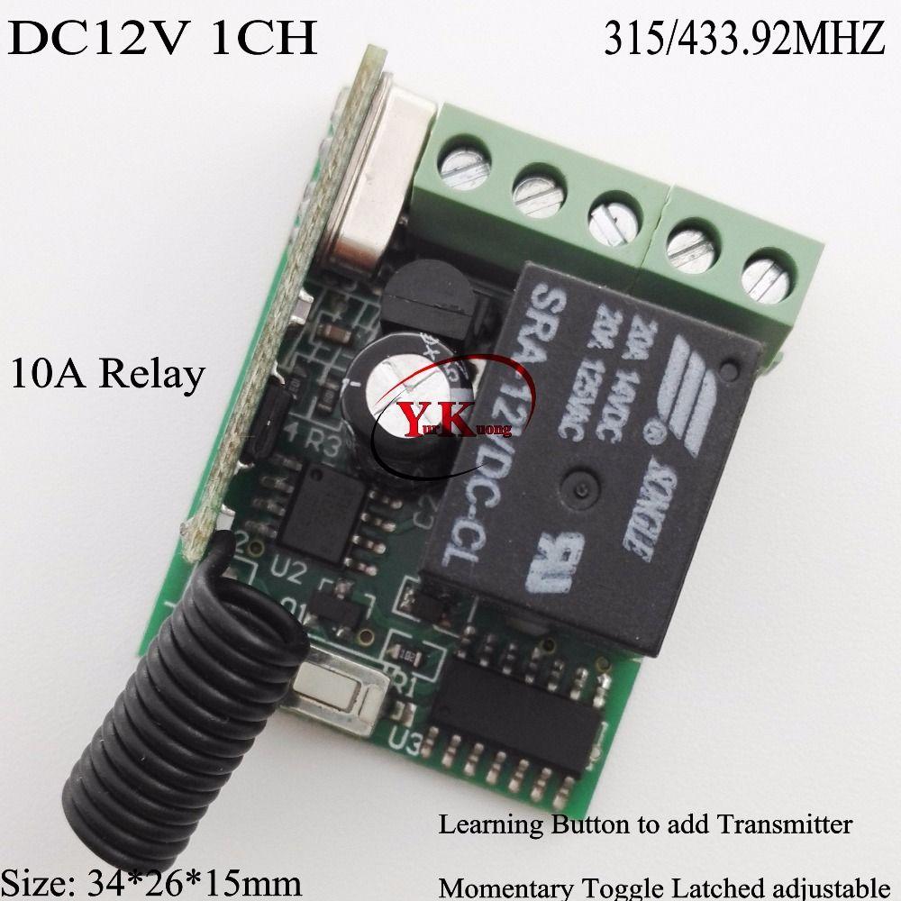 Relé de 12 V 10A 1CH Aprendizaje Code315/433 Interruptor de la Luz A Distancia de Radio Control RC de Iluminación Interruptor de La Puerta de Acceso Remoto Openner de Casa Inteligente