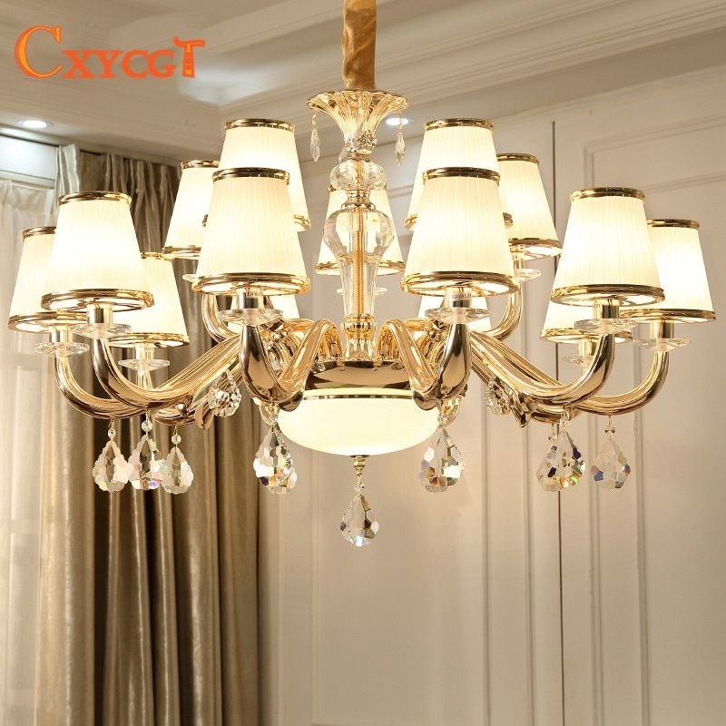 Modern Luxury Crystal Chandelier Lighting For Living Room European lustre para with glass lampshade Indoor Pendant Lamp Home