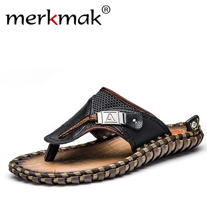 Merkmak Luxury Brand 2018 New Men's Flip Flops Genuine Leather Slippers Summer Fashion Beach Sandals Shoes For Men Big Size 45