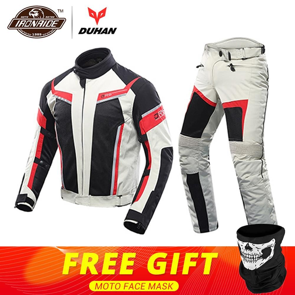 DUHAN Men Motorcycle Jacket + Motorcycle Pants Set Spring Summer Breathable Mesh Jacket Moto Pants Suit Clothing Protective Gear