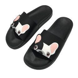 Lindo perro de dibujos animados mujeres diapositivas 2018 moda pu cuero playa zapatos mujer tacones planos flip flops descalzo zapatillas Zapatillas Mujer