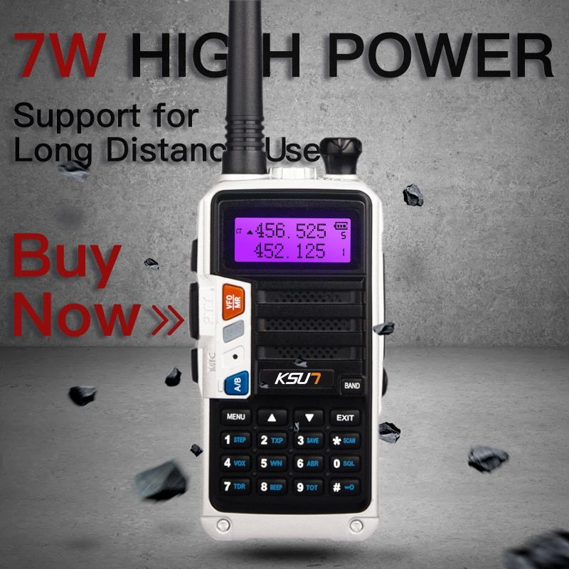 KSUN H2 Walkie Talkie 10W High Power Dual Band Handheld Two Way Ham Radio Communicator HF Transceiver Amateur Handy
