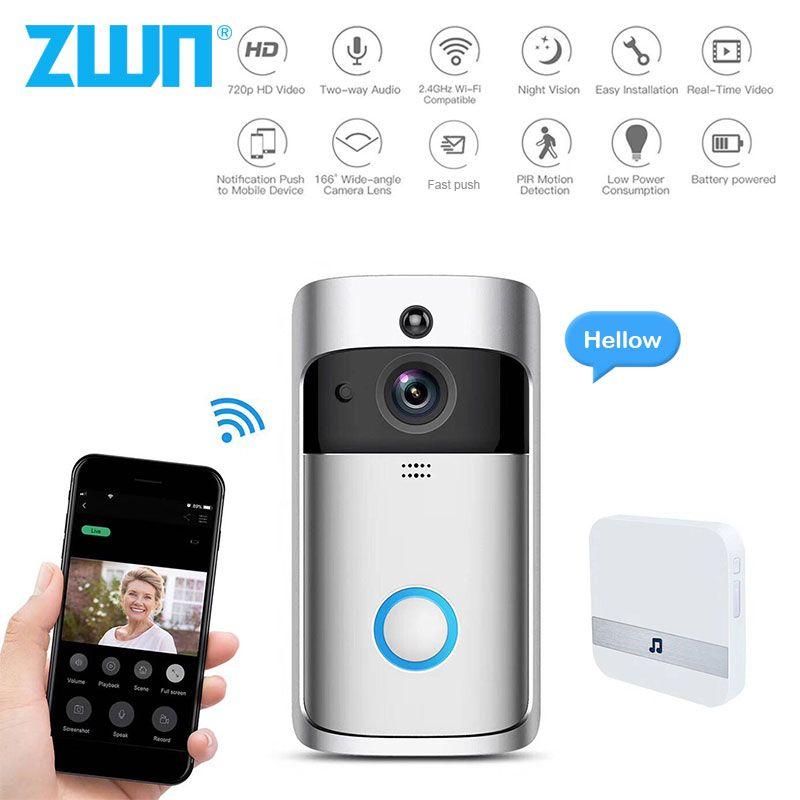 ZWN intelligent sans fil Wifi vidéo sonnette interphone 720 P appel téléphonique porte cloche caméra infrarouge à distance enregistrement surveillance de sécurité à domicile