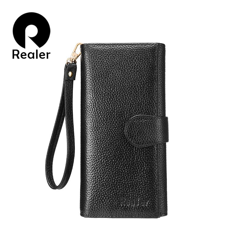 REALER wallets women genuine leather purse female clutch strap bifold credit card holders RFID blocking zipper folding money bag
