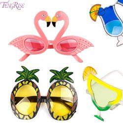FENGRISE Beach Party Nouveauté Flamingo Fête Décorations De Mariage Décor Ananas lunettes de Soleil Hawaïen Drôle Lunettes Événement Fournitures