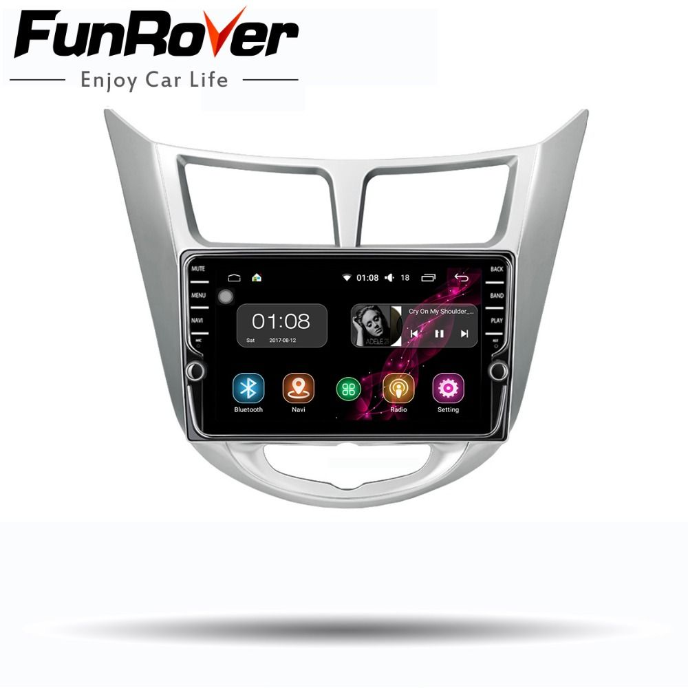 Funrover 2 din Android 8.0 Car dvd multimedia player for Hyundai Solaris accent Verna i25 2011-2016 radio GPS navigation stereos