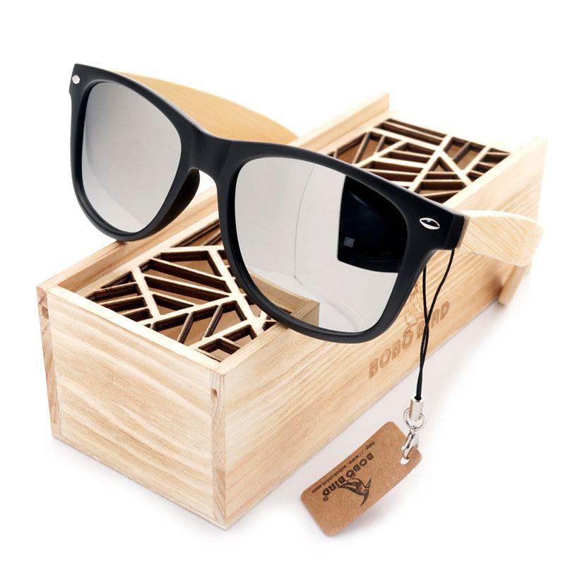 BOBO <font><b>BIRD</b></font> Men Summer Style Vintage Black Square Sunglasses Lady With Bamboo Mirrored Polarized Travel Eyewear in Wood Box BS23