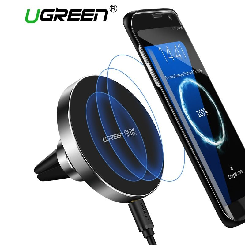 Ugreen 10W Qi Wireless Charger for Samsung Note 8 S8 S7 S6 Fast Wireless Charging Magnetic Car Air Mount Holder Phone Stand