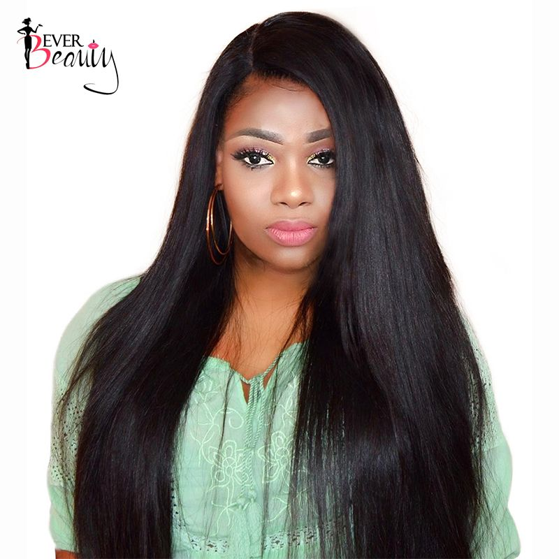 250% Density Lace Front Human Hair Wigs For Black Women <font><b>Full</b></font> and Silky Straight Non-remy Wig Natural Color Ever Beauty