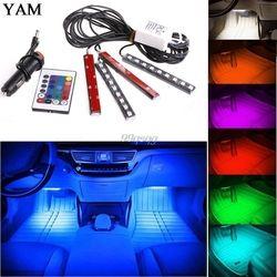 2017 7 цветов гибкие автомобилей укладки RGB Светодиодные ленты свет атмосфера украшения лампы салона света с Дистанционное управление