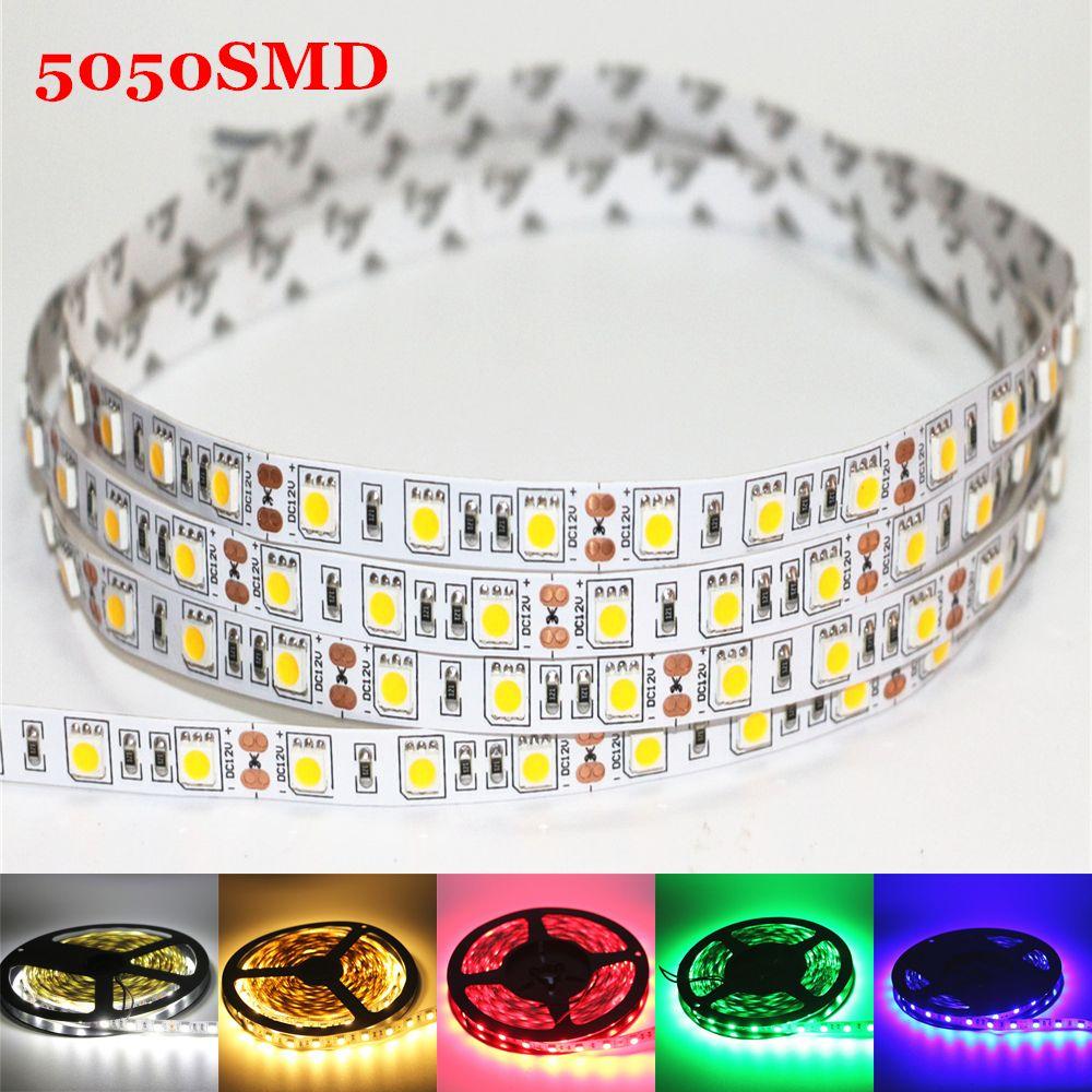 1m 2m 3m 4m 5m DC 12V Flexible LED Strip light 5050SMD ip20 Non-waterproof 60/120/180/240/300LEDs High Bright 10mm RGB LED Tape