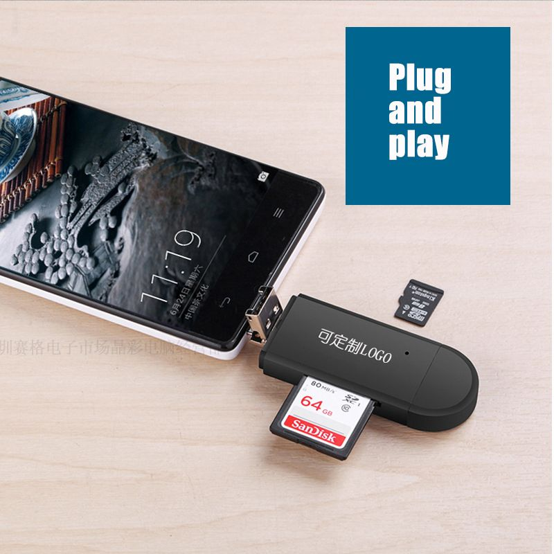 3 In 1 OTG Card Reader Type C & micro USB & USB 2.0 Universal OTG TF/SD for Android PC Computer Extension Readers