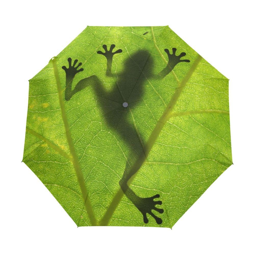 2018 New Creative Frog Children Umbrella Three Folding Green Umbrella Rain Women Sunscreen <font><b>Anti</b></font> UV Brand Umbrellas