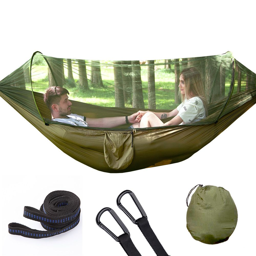 Automatic unfolding ultralight parachute hammock hunting mosquito net double lifting outdoor furniture hammock 250X120CM