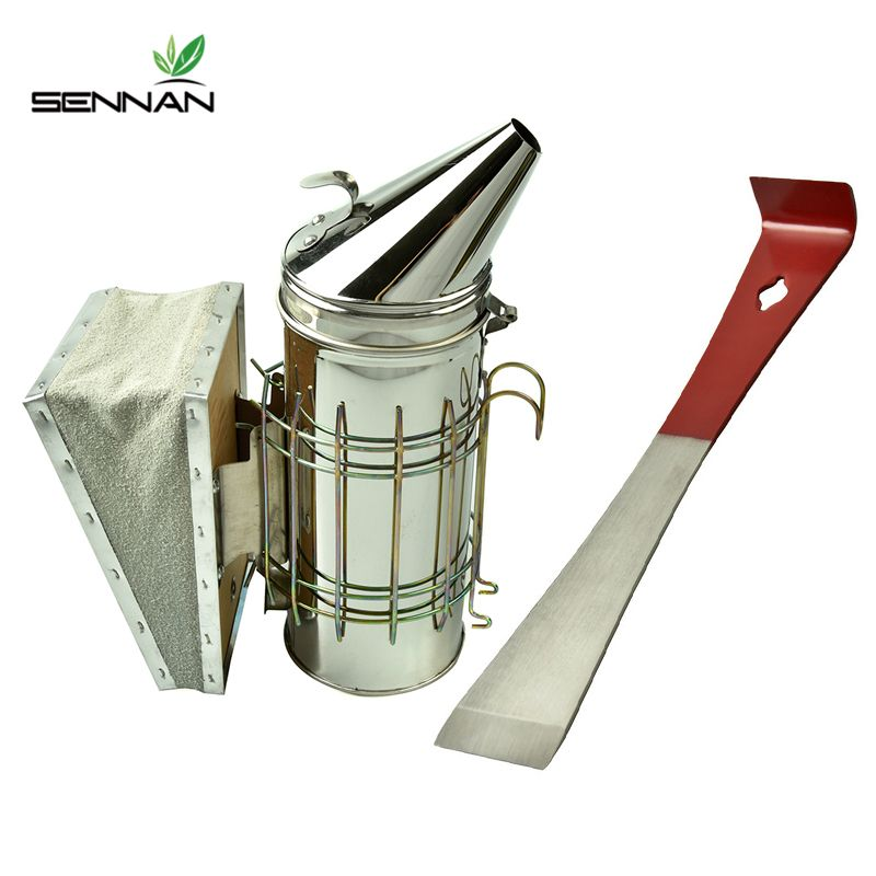 SenNan Beekeeping Tools Honeycomb Smoker Set Stainless Steel Set Sprayer + Red Flat Scraper Beekeeper Special Equipment