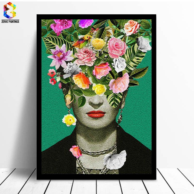 Frida Kahlo Floral Impression Art Toile Peintures Affiche, fleur Mur Photo pour Salon Auto Portrait