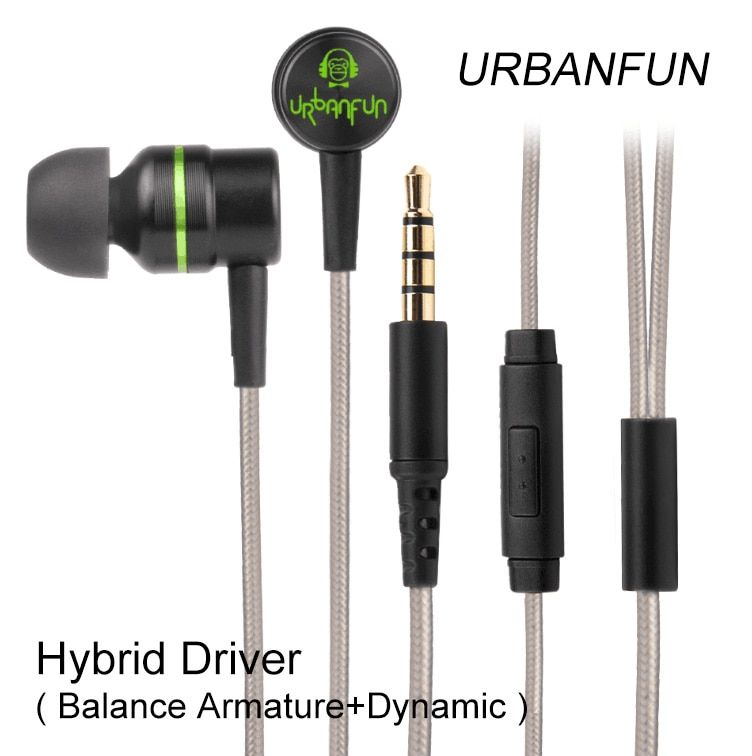 Original URBANFUN Hybrid Unit 1BA With 1DD In-ear Earphone 3.5MM HiFi Bass Noise Cancelling Headset With Mic Free Shipping