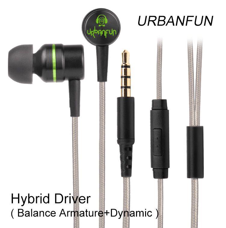 Original URBANFUN Hybrid Unit 1BA With 1DD In-ear Earphone 3.5MM HiFi Bass <font><b>Noise</b></font> Cancelling Headset With Mic Free Shipping