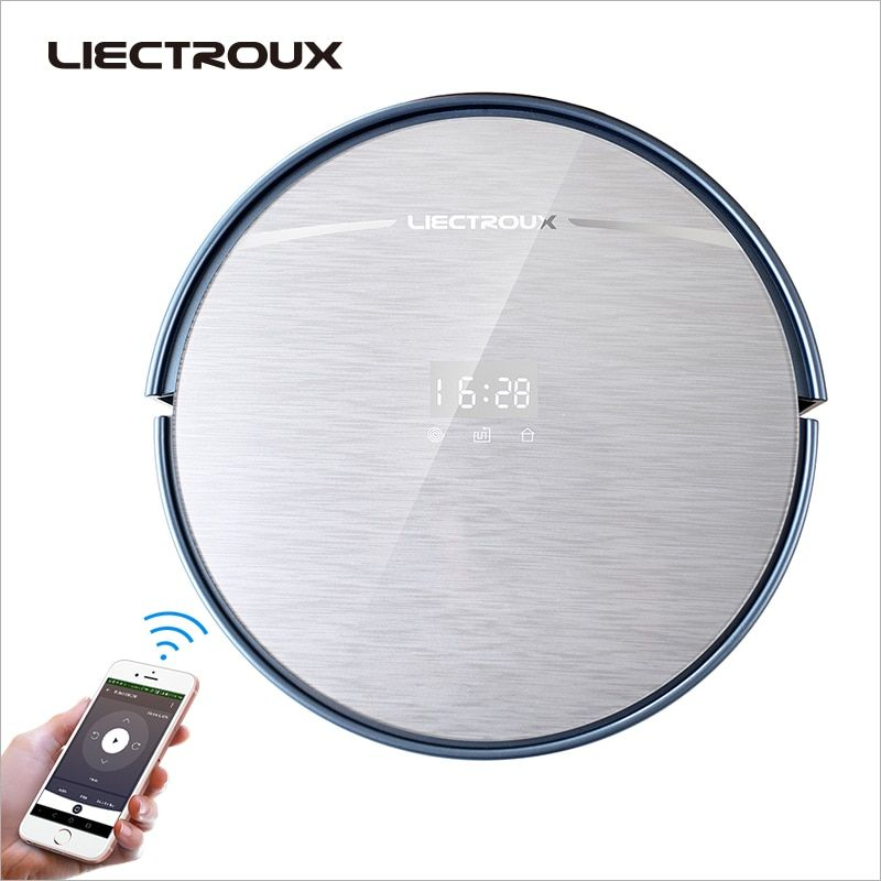 LIECTROUX X5S robot vacuum cleaner,central brush,self charge,filter,battery,side brush, Navigation, wifi remote control,wet$dry