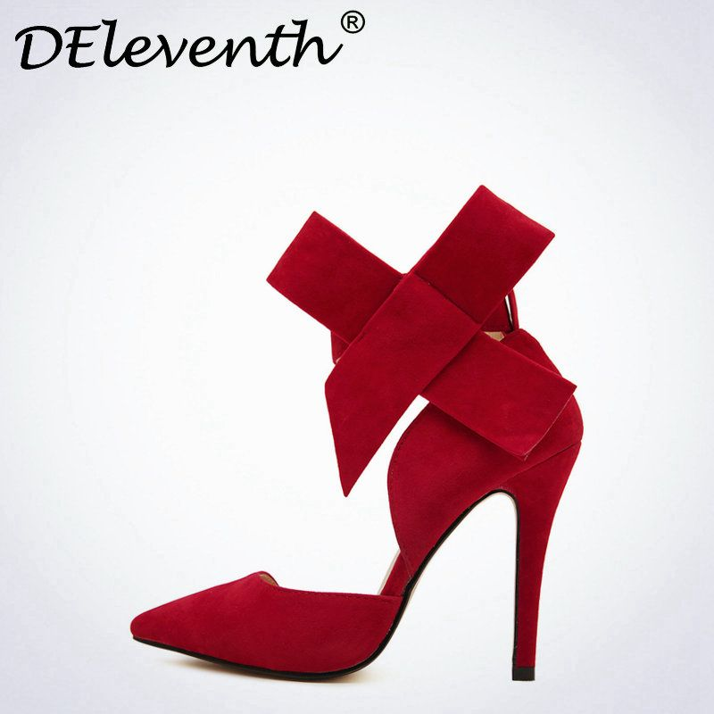 DEleventh Fashion Women Point Toe Bowknot Stiletto High Heels Sandals Shoes Woman Butterfly bow Wedding Shoes Red Pink Blue 43