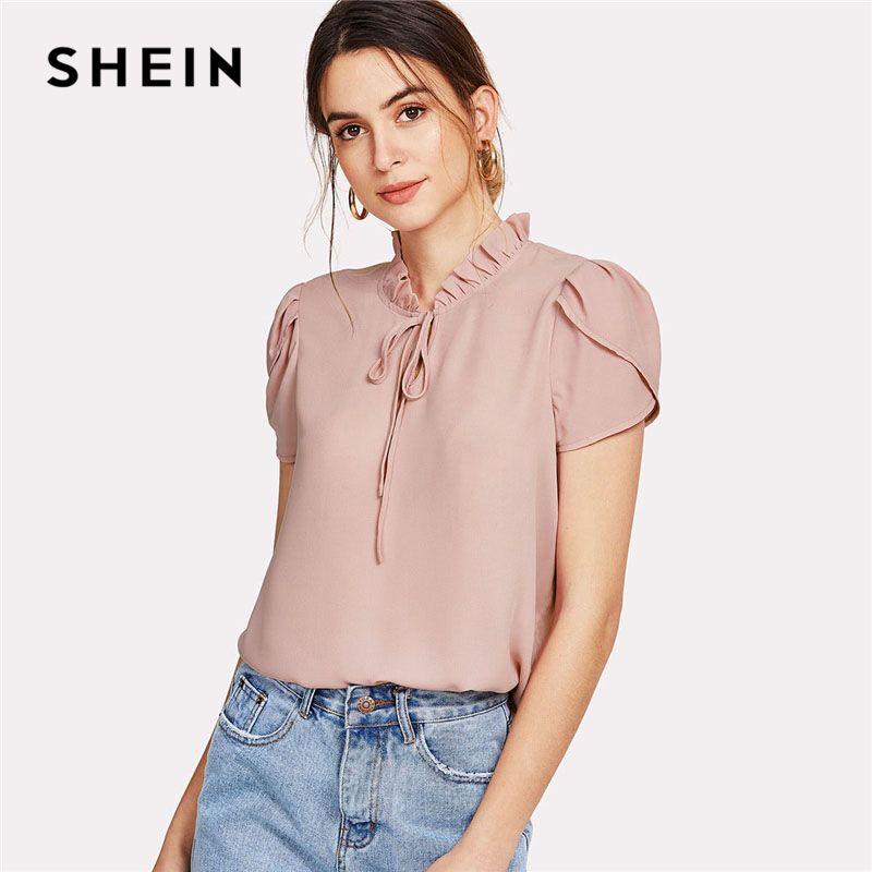 SHEIN Pink Tie Neck Petal Sleeve Top Women Frill Trim <font><b>Stand</b></font> Collar Short Sleeve Plain Blouse 2018 Summer Elegant Work Blouse