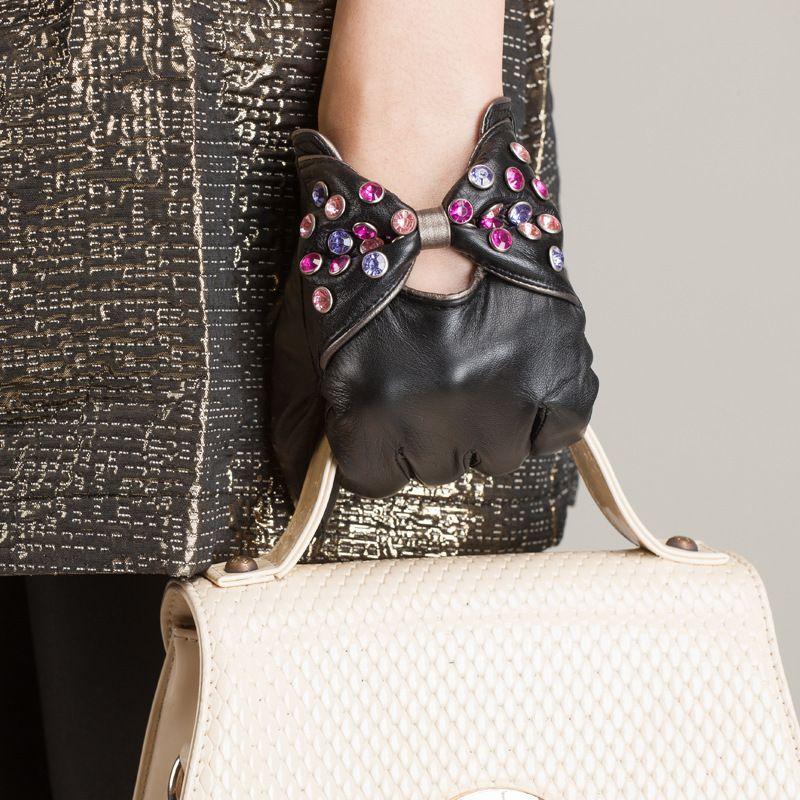 Livraison gratuite de haute qualité mode diamant femmes gants femmes doublées en cuir gants en peau de mouton gants noir gants KU-054