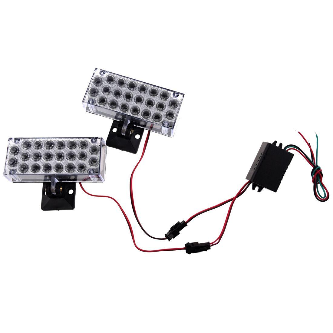DSHA 2 x 22 LED Car Flashing Emergency Light Grill Strobe Flash Lamp 12V Red