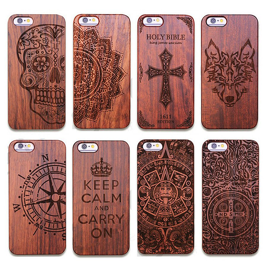 Vintage Carving Real Wood+Plastic Case for iPhone 5 5S SE 6 6s 6plus 6s Plus Novetly Protective Back Cover Shell Vintage Cases