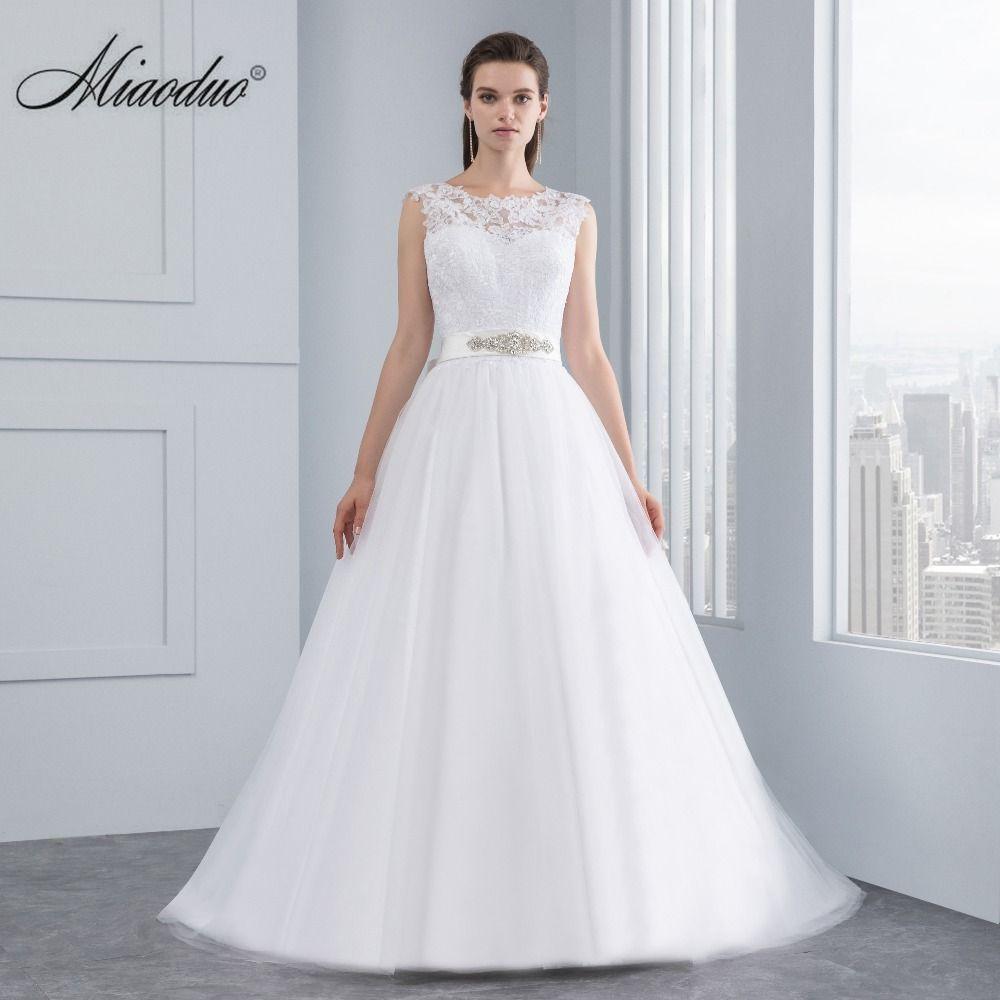 Miaoduo Wedding Dress New Lace Wedding Dresses Satin Backless Wedding Gowns Wedding Bridal Bride Dresses vestidos de noiva