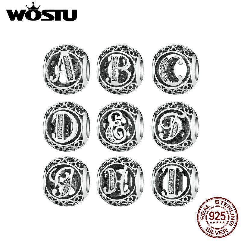 Аутентичные 925 пробы серебро Винтаж A до Z, ясно CZ письмо талисманы Бусины Подходят оригинальный WST браслеты ювелирные изделия