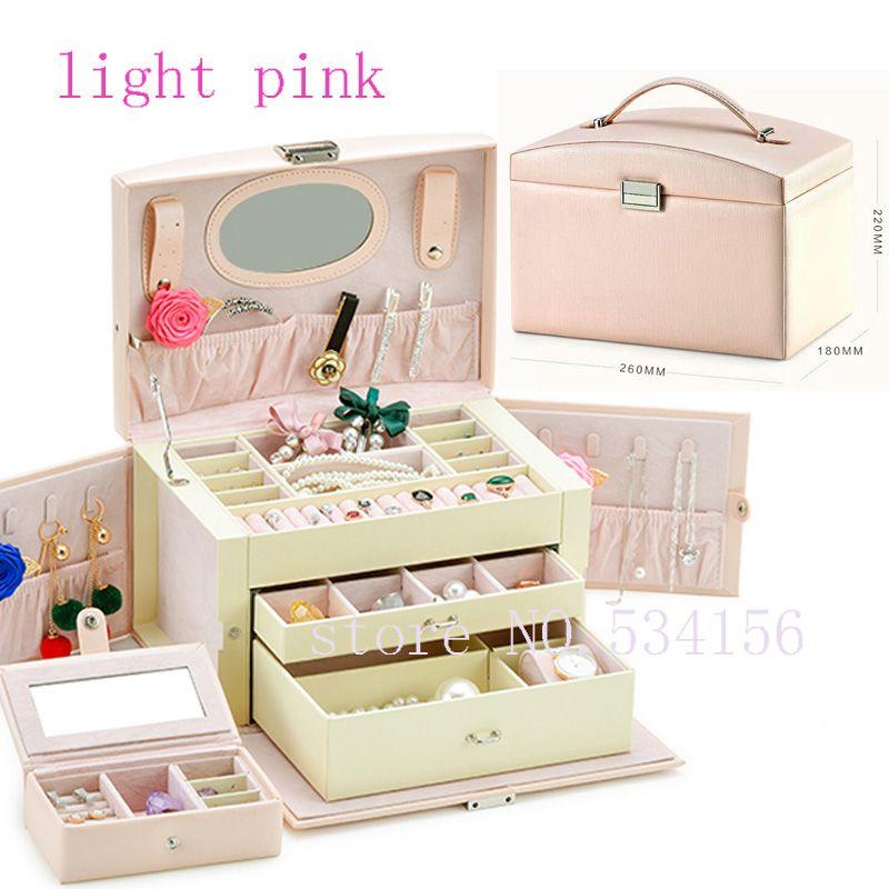Livraison gratuite de luxe en cuir Pratique boîte à bijoux cercueil boucles d'oreilles collier pendentif bijoux affichage cadeau boîte d'emballage