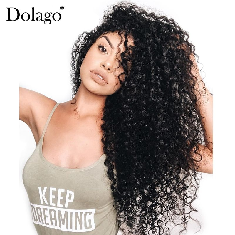 360 Lace Frontal Wig Pre Plucked With Baby Hair 180% Deep <font><b>Wave</b></font> Full End Brazilian Lace Front Human Hair Wigs Curly Dolago Remy