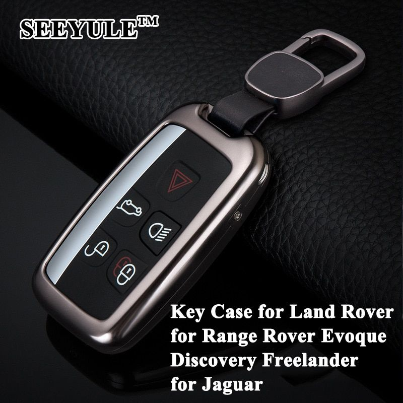 1pc SEEYULE Aluminum Alloy Car Key Case Shell with Belt Key Cover Storage Bag Protector for Jaguar XF XJL F-TYPE for Land Rover