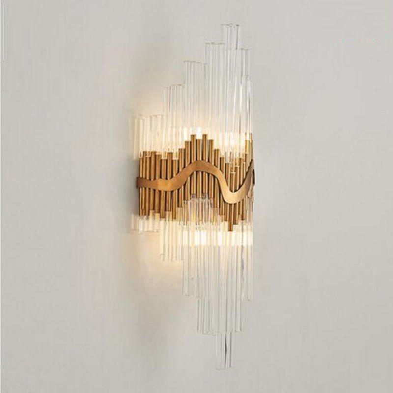 luxury design glass wall lamp gold wall sconce light Dia25*H60cm lustre bedroom lighting