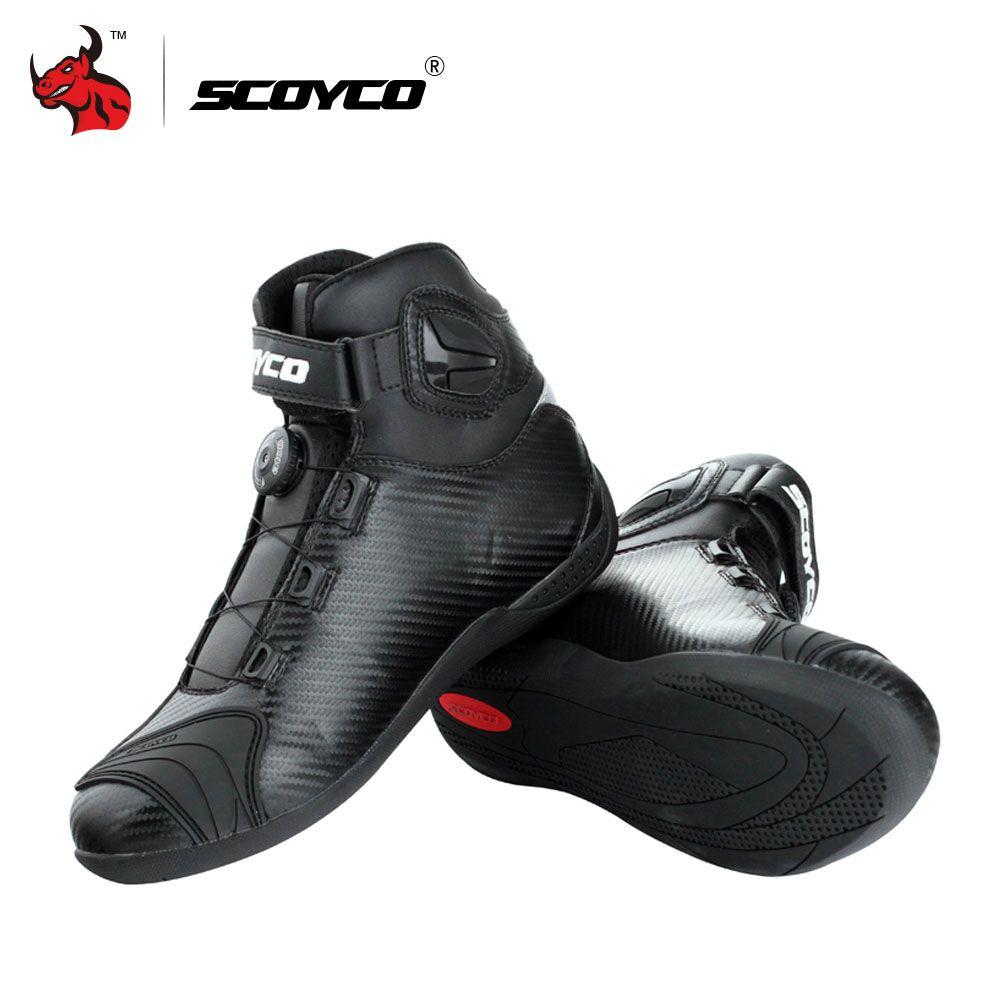 SCOYCO Motorrad Stiefel Leder Motocross Stiefel Männer Moto Reiten Stiefel Schuhe Mit PP Shell Schutz OBEN AUF Schnallen