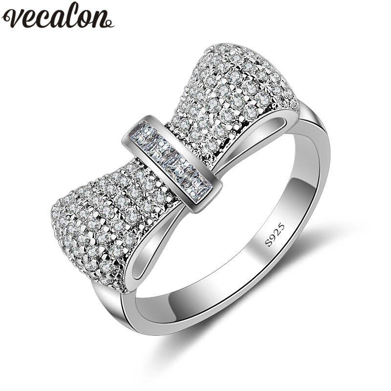 Vecalon Bowknot Style 925 Sterling Silver ring 5A Zircon Cz Diamont Engagement wedding Band rings for women Bridal Jewelry Gift
