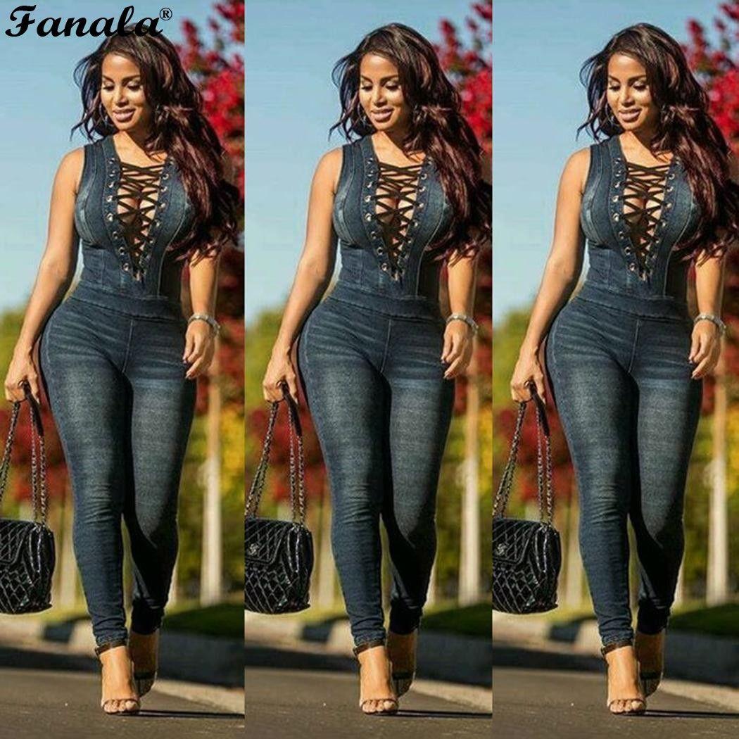 Women Jeans Jumpsuit for Women 2018 Sexy Bodysuit Summer Autumn Romper Womens Jumpsuit Lace Up Combinaison Femme Plus Size XXXL