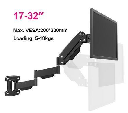 LG312C Ultra Long ressort à gaz robuste TV montage mural moniteur support étagères rétractable Rotation LCD montage 17