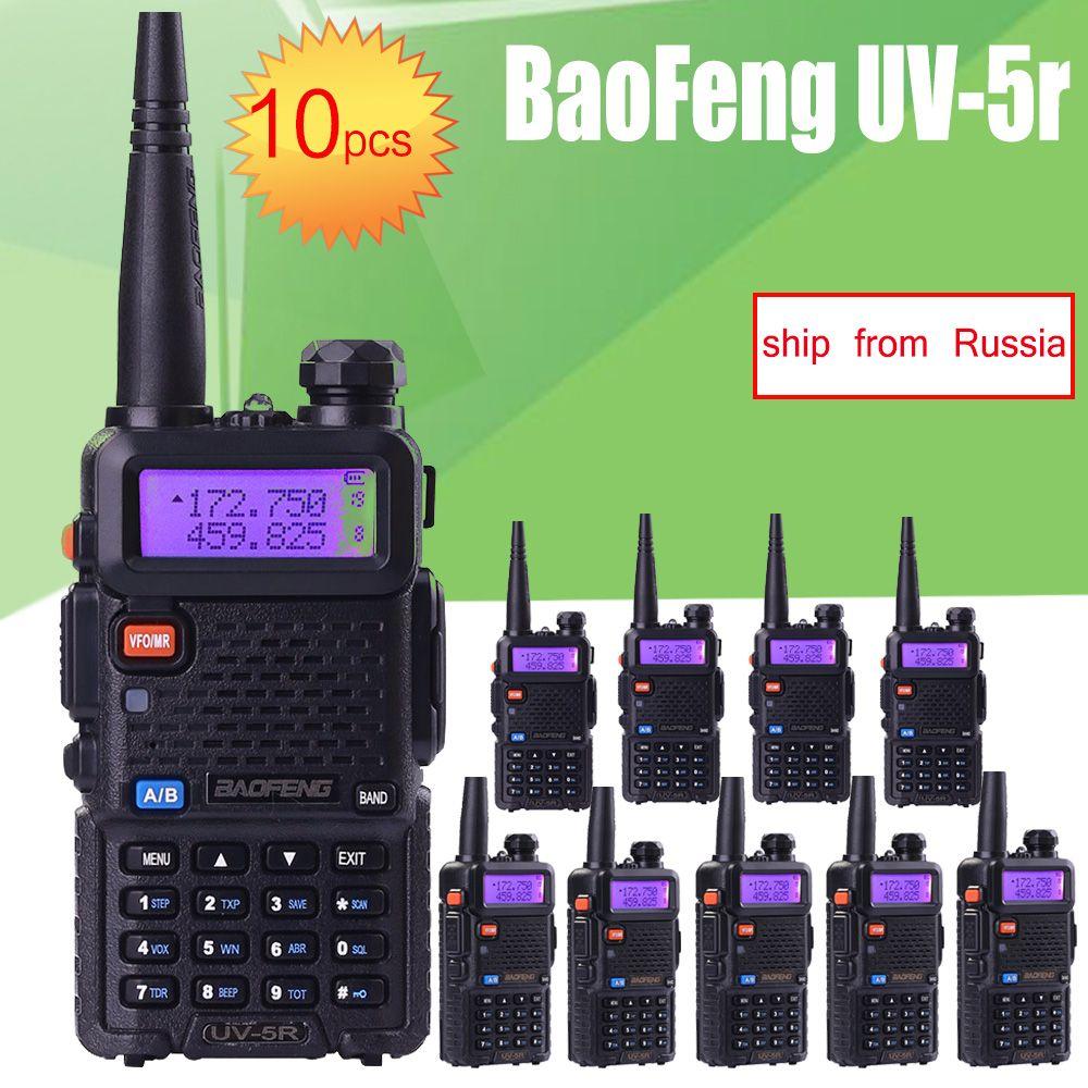 10 pcs Long Range 2 Way Radios BaoFeng UV-5R 5 W Double bande UHF Talkie Walkie Écouteur Vhf portable CB Ham Radio casque + Batterie