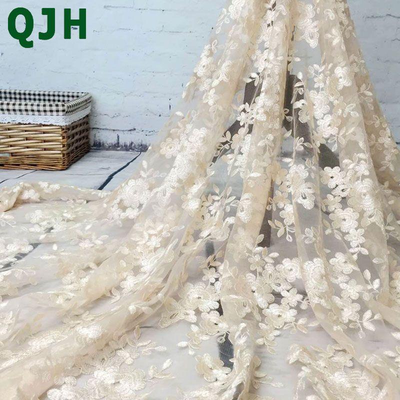 Haut de gamme mode français dentelle tissu de haute qualité africain Tulle brodé fleur transparent net dentelle tissu pour mariage