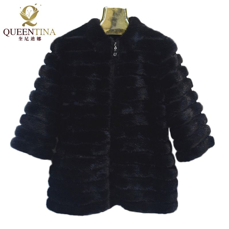 New Black Real Mink Fur Coats Jacket with Zipper Real Natural Mink Fur Coat Women Genuine Fur Coat Russian Winter Warm Jackets